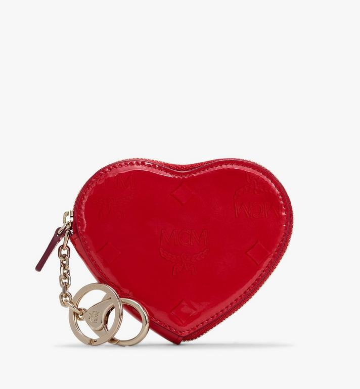 MCM Heart Coin Pouch in Metallic Monogram Leather Alternate View