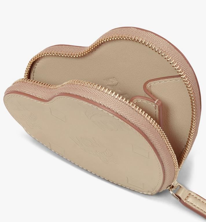 MCM Heart Coin Pouch in Metallic Monogram Leather Gold MYIASPM01T1001 Alternate View 3