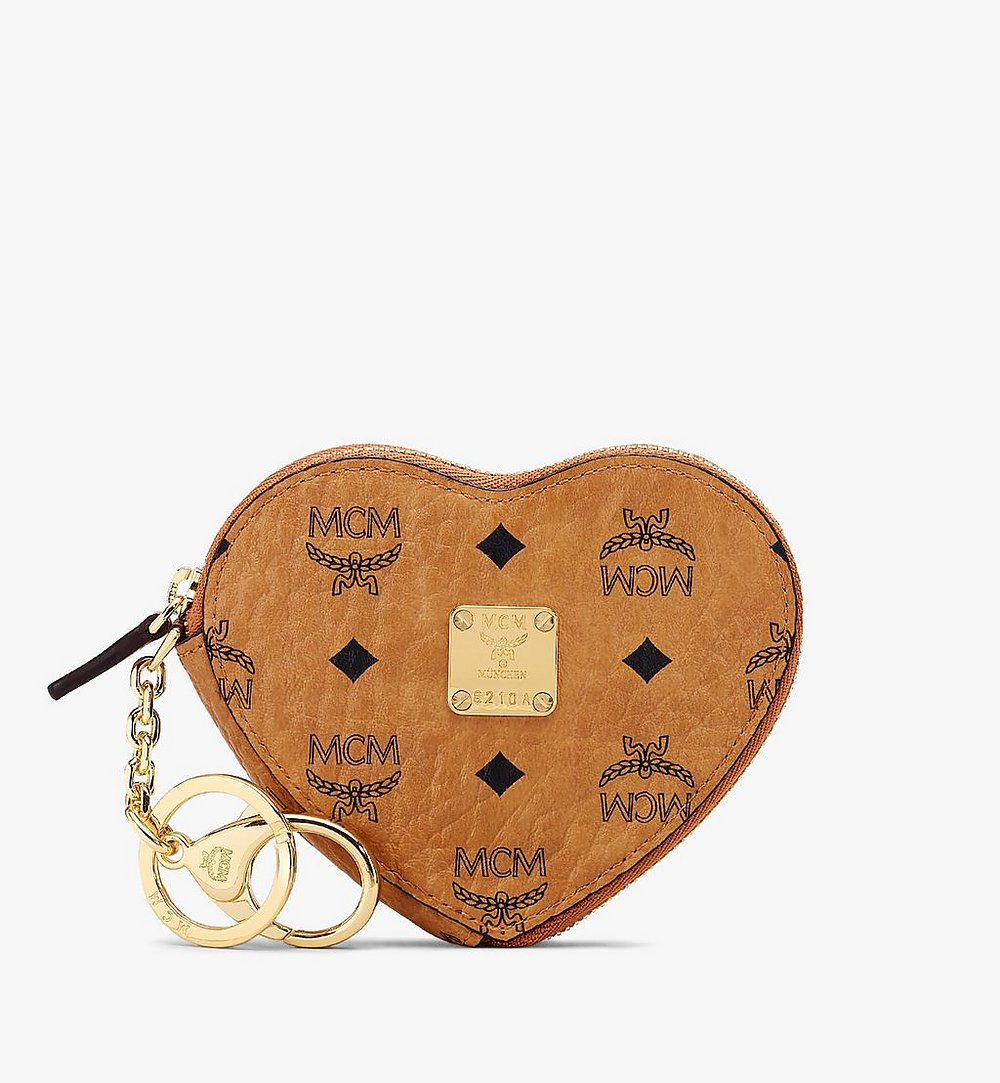 MCM Heart Coin Pouch Charm in Visetos Cognac MYIASVI01CO001 Alternate View 1