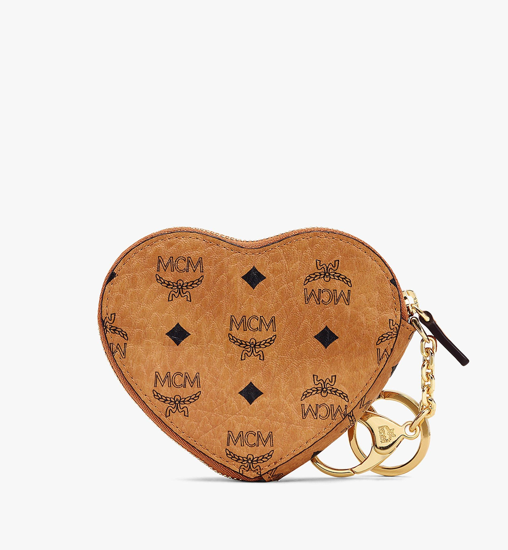 MCM Heart Coin Pouch Charm in Visetos Cognac MYIASVI01CO001 Alternate View 2