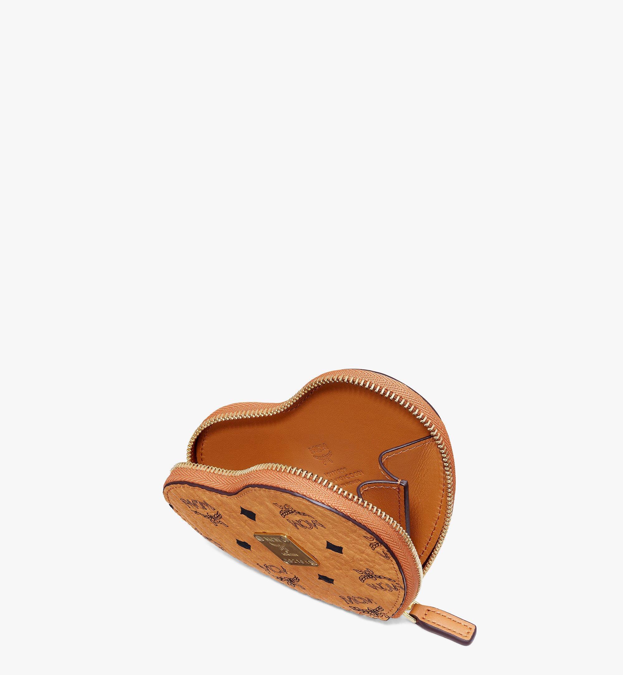 MCM Heart Coin Pouch Charm in Visetos Cognac MYIASVI01CO001 Alternate View 2