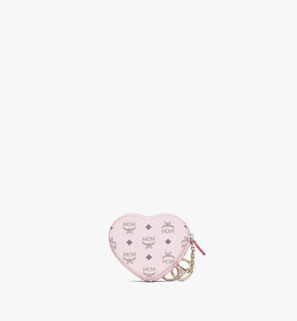 MCM Heart Coin Pouch Charm in Visetos Pink MYIASVI01QH001 Alternate View 1