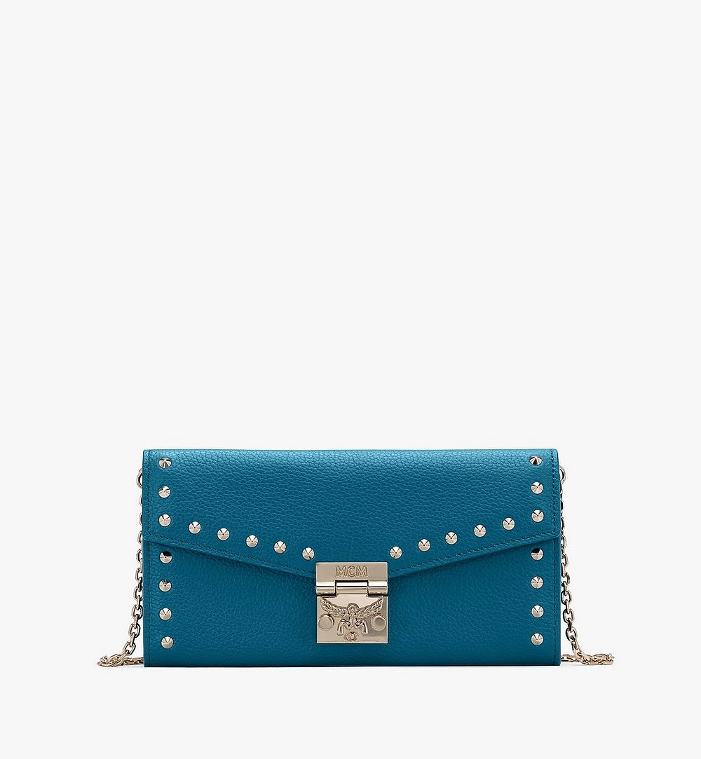 MCM Patricia Crossbody Wallet in Studded Park Ave Leather Blue MYL8APA40JF001 Alternate View 1