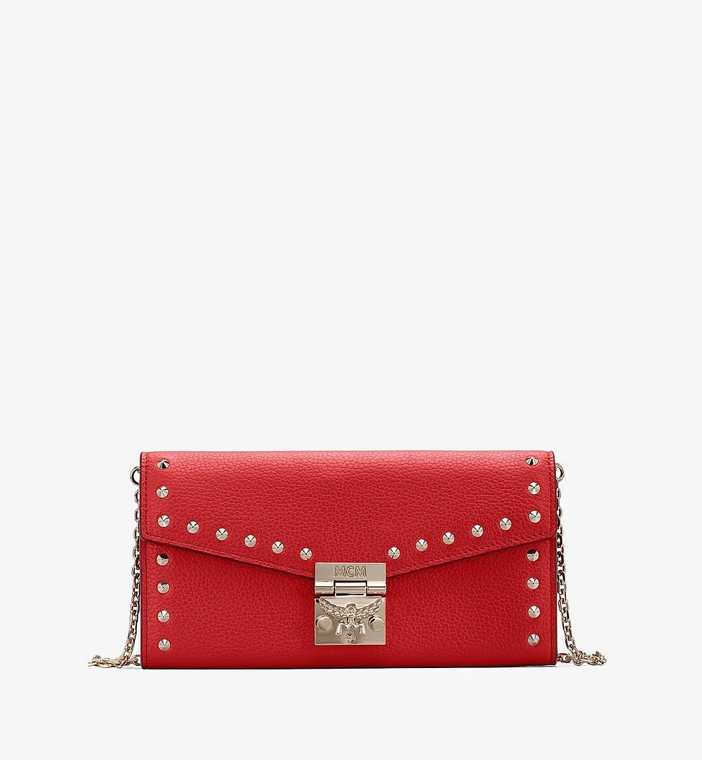 MCM Patricia Crossbody Wallet in Studded Park Ave Leather Red MYL8APA40R4001 Alternate View 1