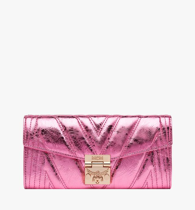 Patricia Crossbody Wallet in Quilted Metallic Leather