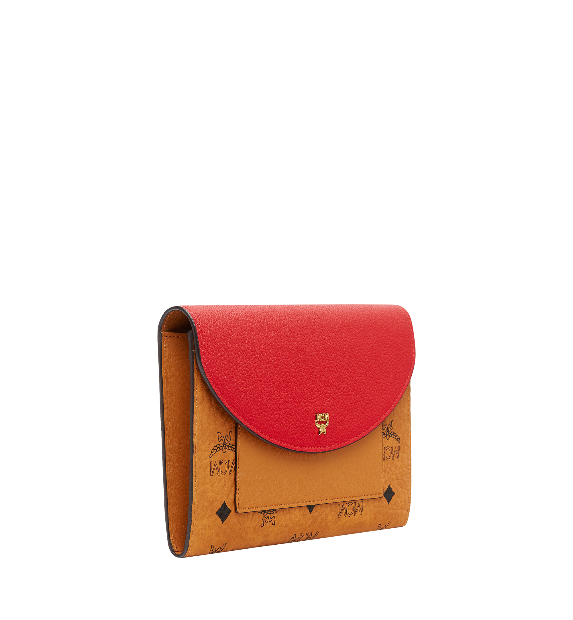 MCM Flap Wallet with Pouch in Visetos Leather Block Red MYL8AVI14RU001 Alternate View 1
