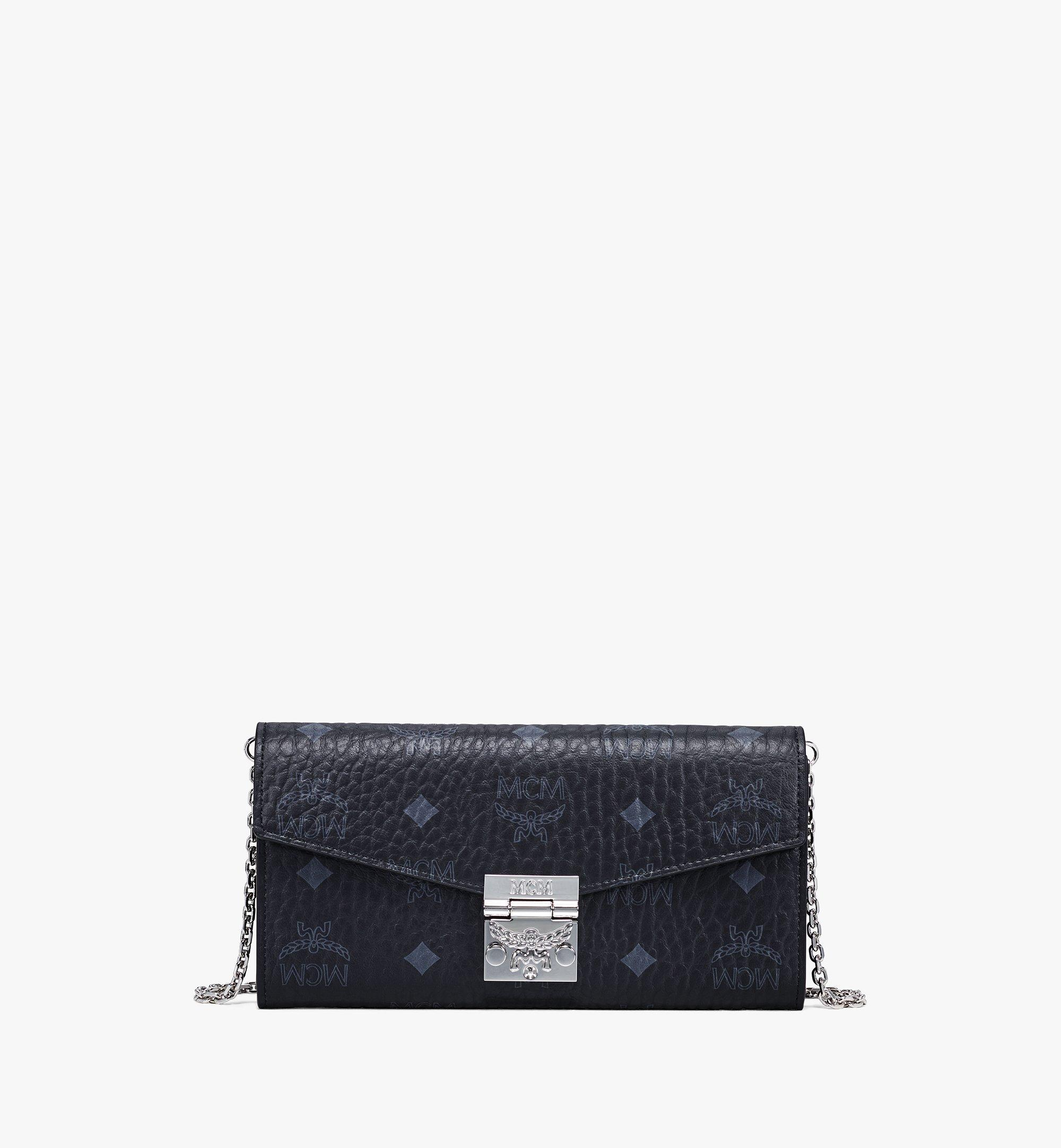 MCM Tasche Patricia Visetos Crossbody Wallet Large Black in schwarz