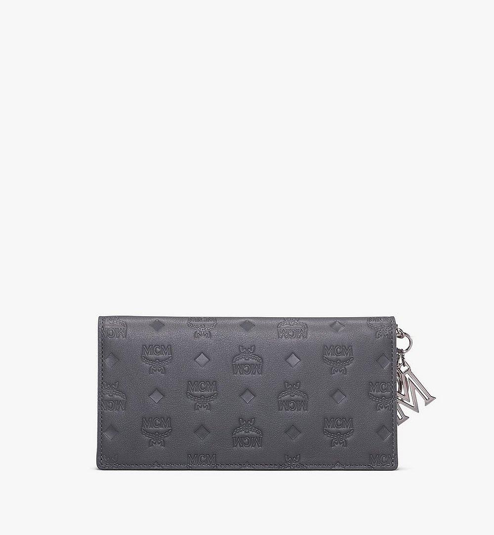MCM Klara Two-Fold Wallet in Monogram Leather Grey MYL9AKM12EC001 Alternate View 1