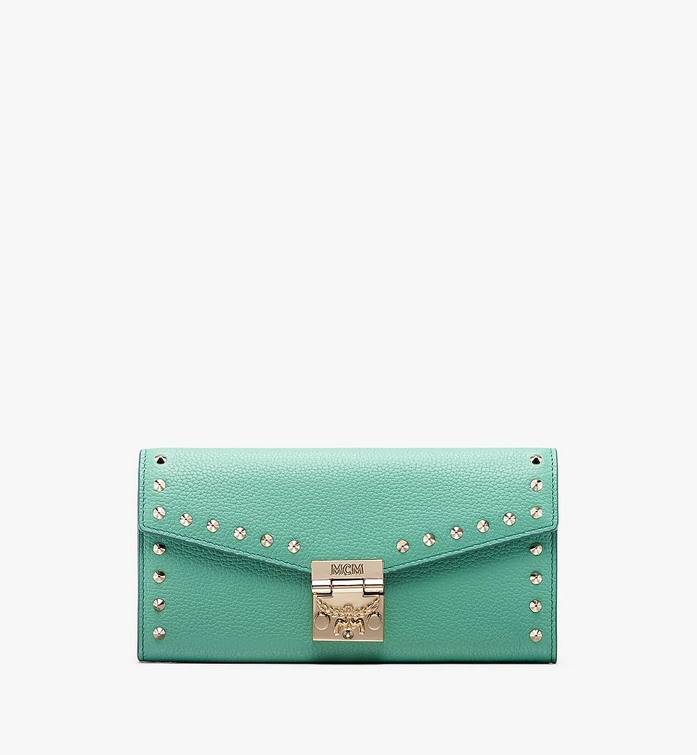 MCM Patricia Crossbody Wallet in Studded Park Ave Leather Green MYL9APA40G7001 Alternate View 1