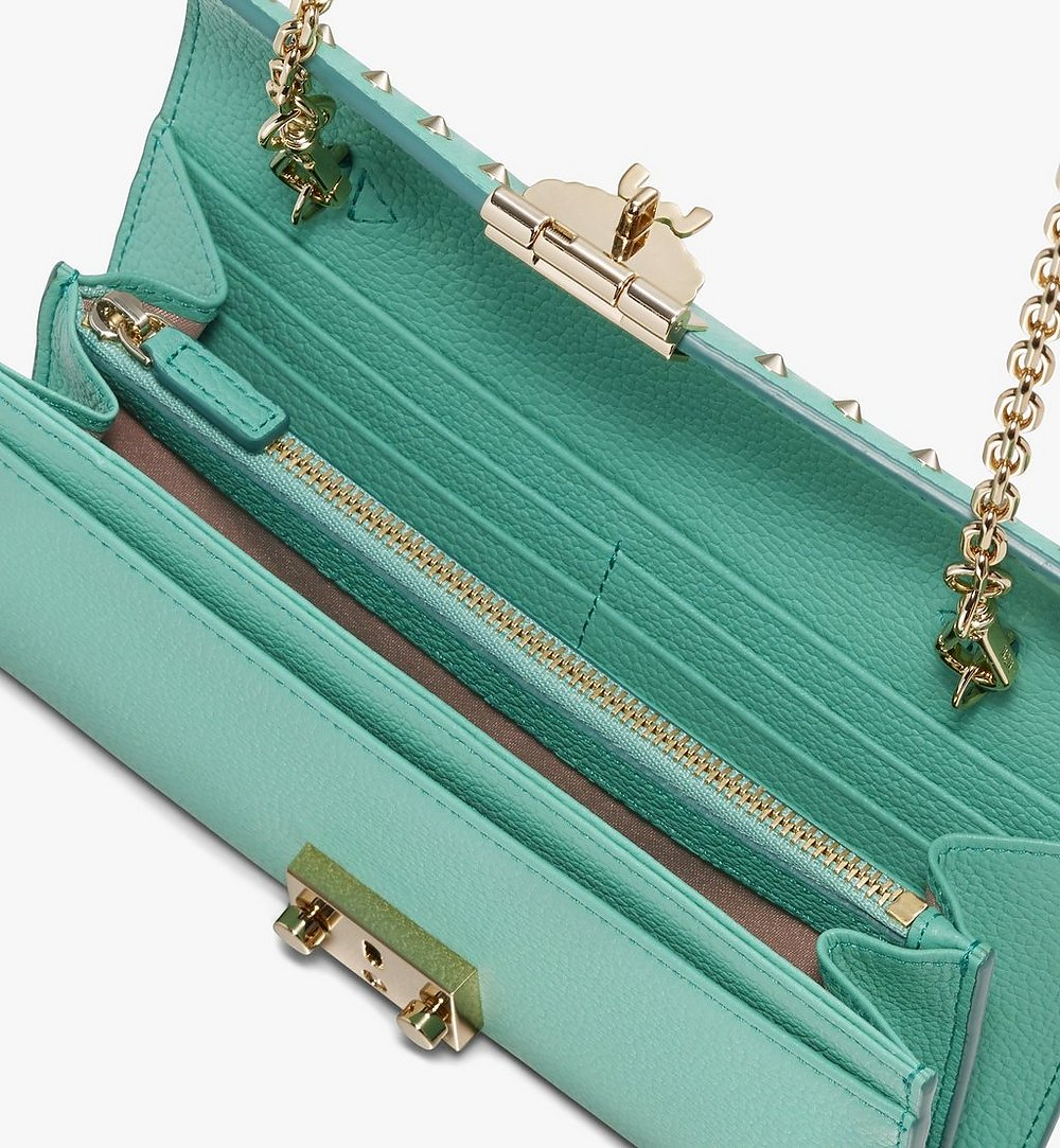 MCM Patricia Crossbody Wallet in Studded Park Ave Leather Green MYL9APA40G7001 Alternate View 2