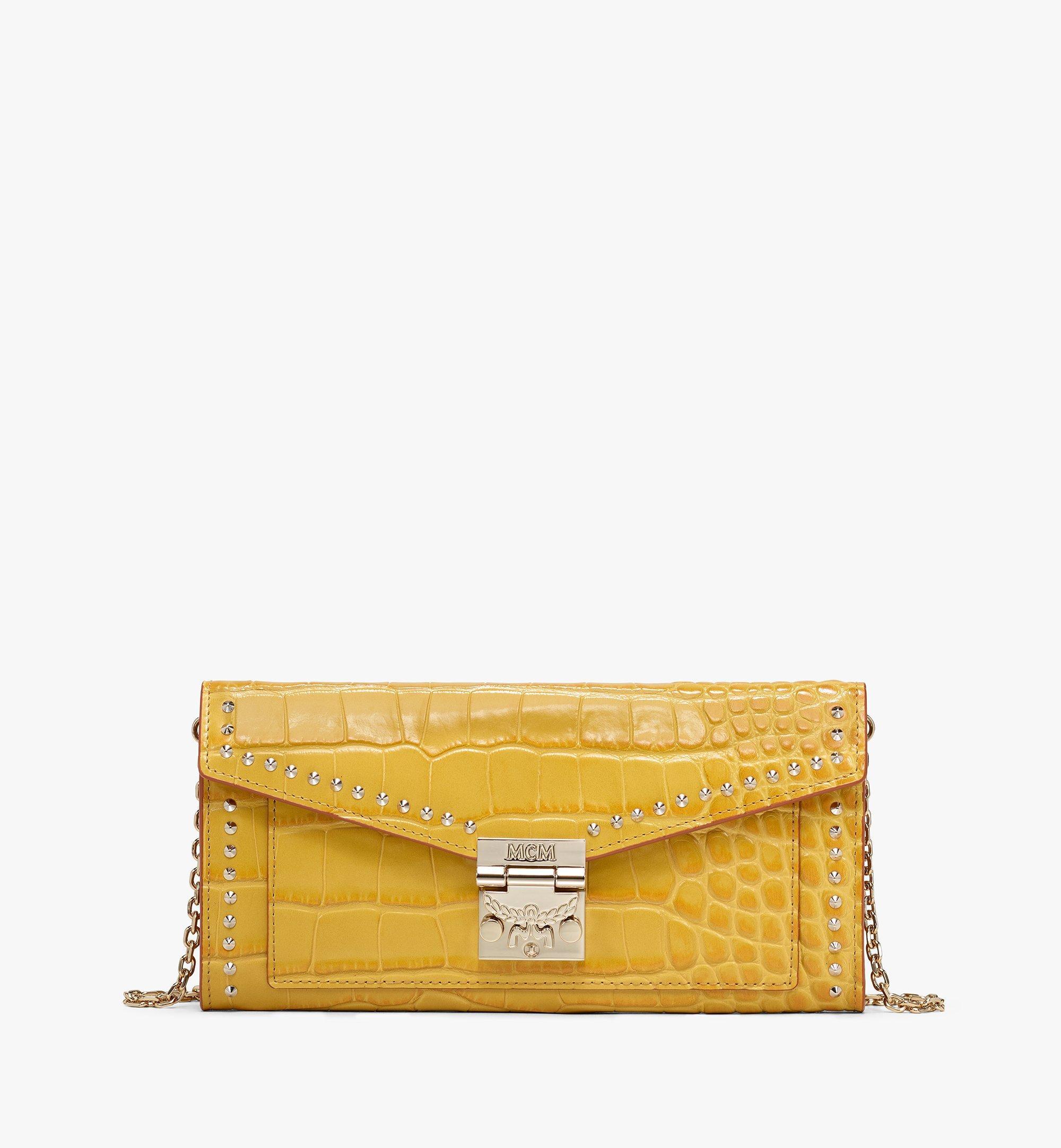 Patricia Crossbody Wallet In Embossed Crocodile in Golden Mango