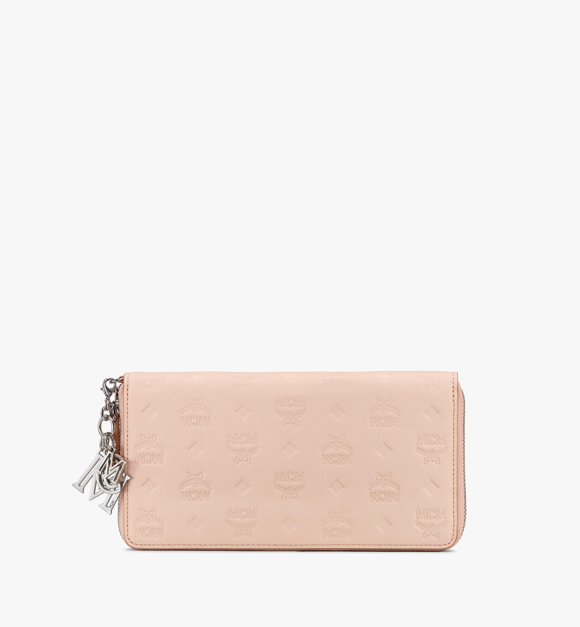 MCM Klara Zip Wallet in Monogram Leather Beige MYL9SKM11II001 Alternate View 1