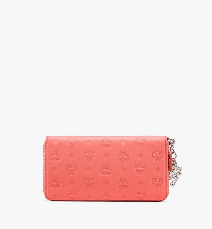 MCM Klara Zip Wallet in Monogram Leather Pink MYL9SKM11O3001 Alternate View 2