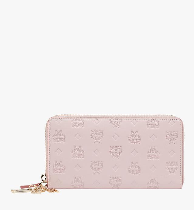 Charm-Brieftasche mit Rundum-Reissverschluss aus Leder mit Monogramm