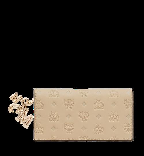 Portefeuille à deux volets en cuir monogrammé avec breloque