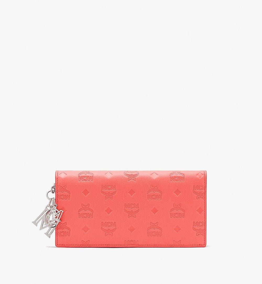 MCM Klara Two Fold Wallet in Monogram Leather Red MYL9SKM12O3001 Alternate View 1