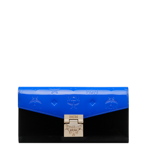 Portefeuille à bandoulière Patricia en cuir verni monogrammé