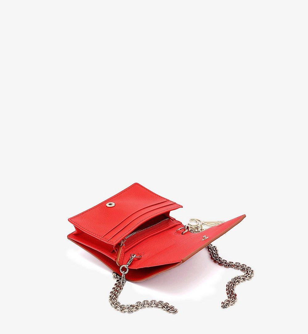 MCM 클라라 모노그램 레더 체인 지갑 Red MYLAAKM02R8001 다른 각도 보기 1