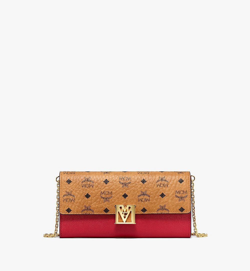 MCM Mena Crossbody Wallet in Visetos Leather Block Red MYLAALM03RU001 Alternate View 1