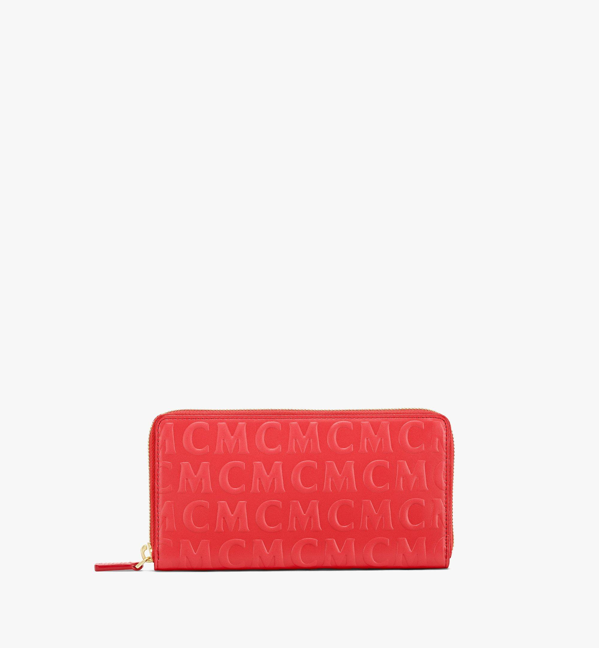 MCM Zip Around Wallet in MCM Monogram Leather Red MYLAAMD01RP001 Alternate View 1