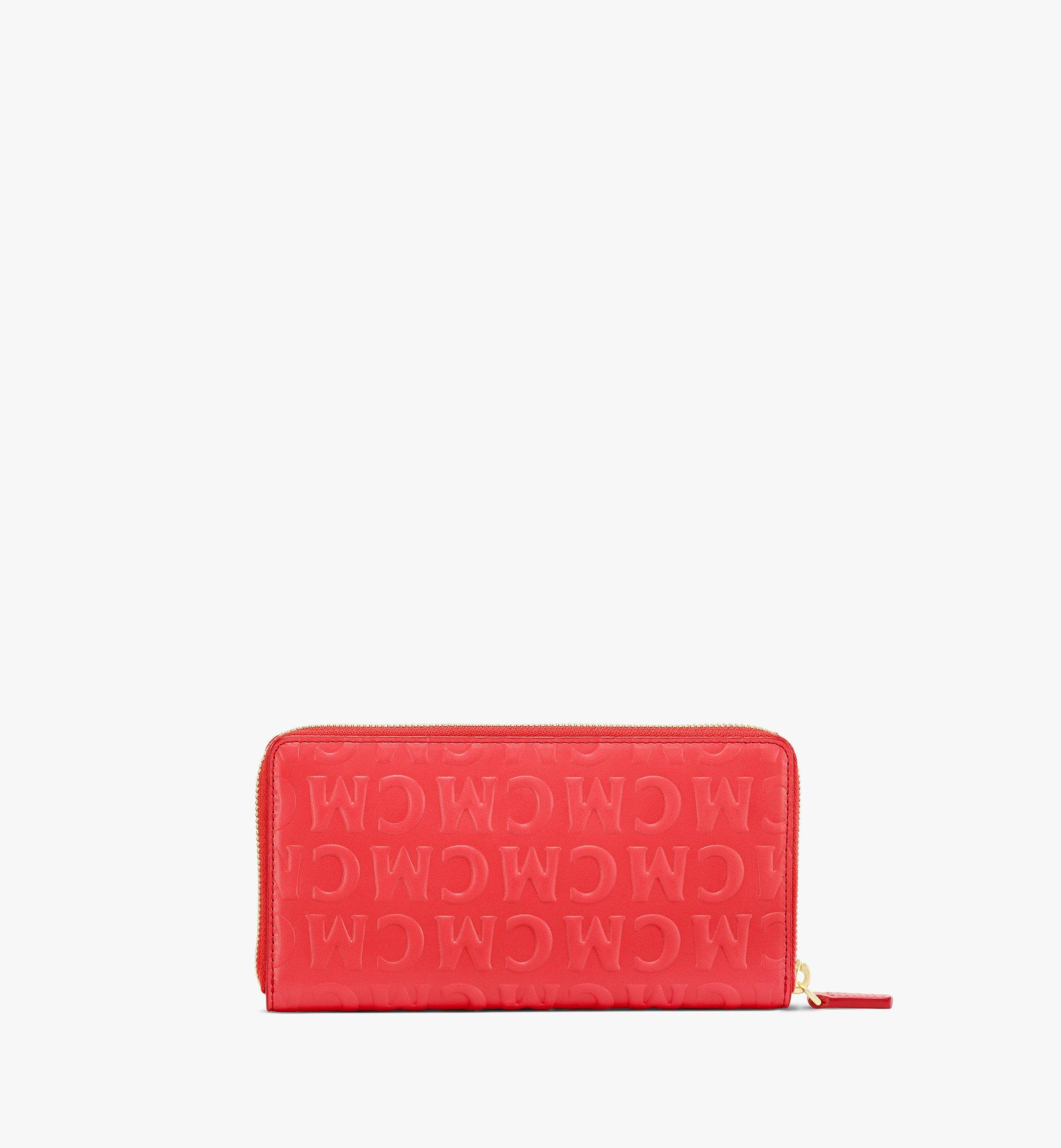 MCM Zip Around Wallet in MCM Monogram Leather Red MYLAAMD01RP001 Alternate View 2