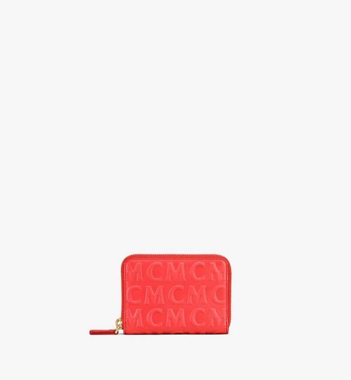 Lederbrieftasche mit Rundum-Reissverschluss und MCM-Monogramm