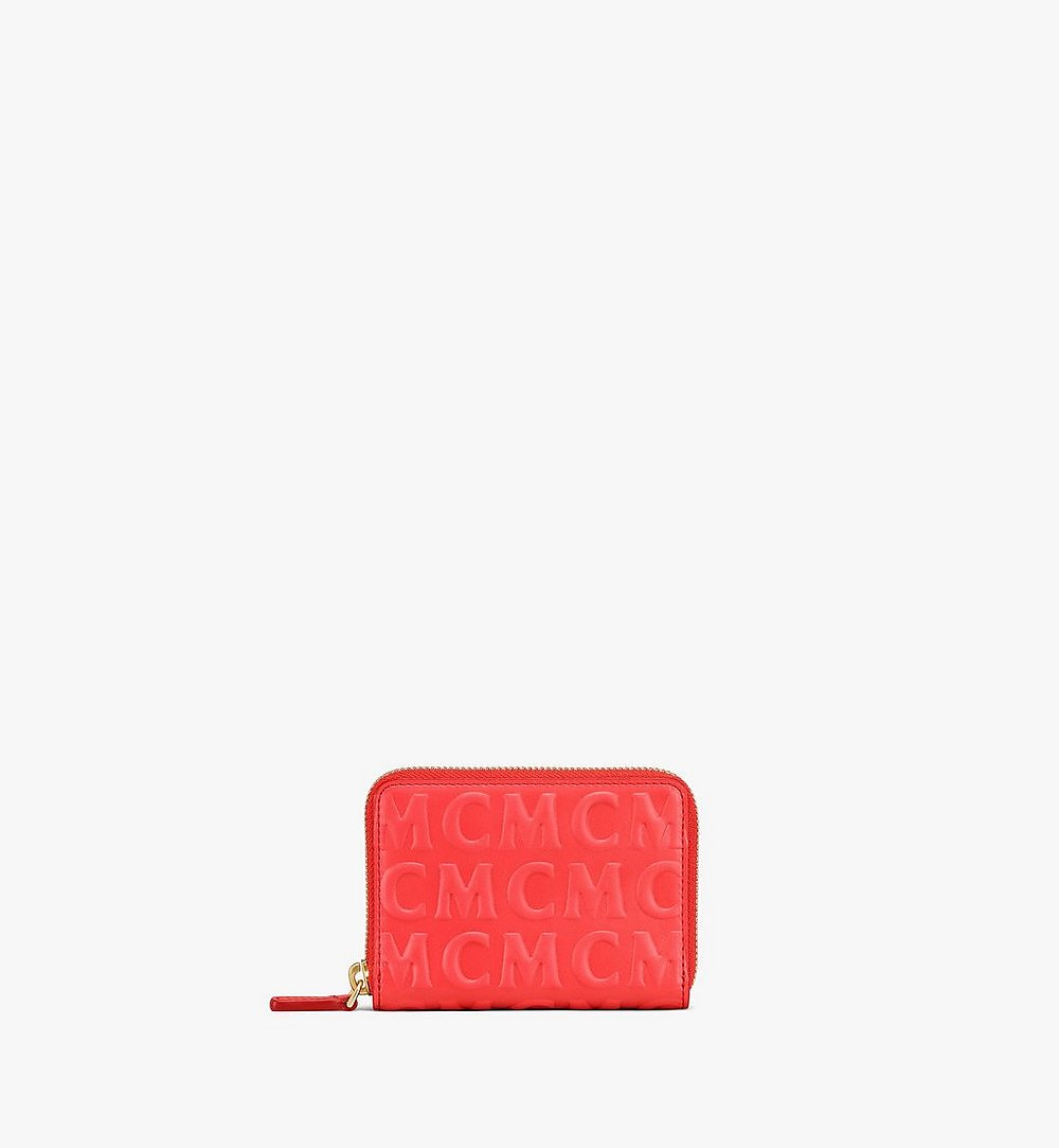 MCM Zip Around Wallet in MCM Monogram Leather Red MYLAAMD02RP001 Alternate View 1