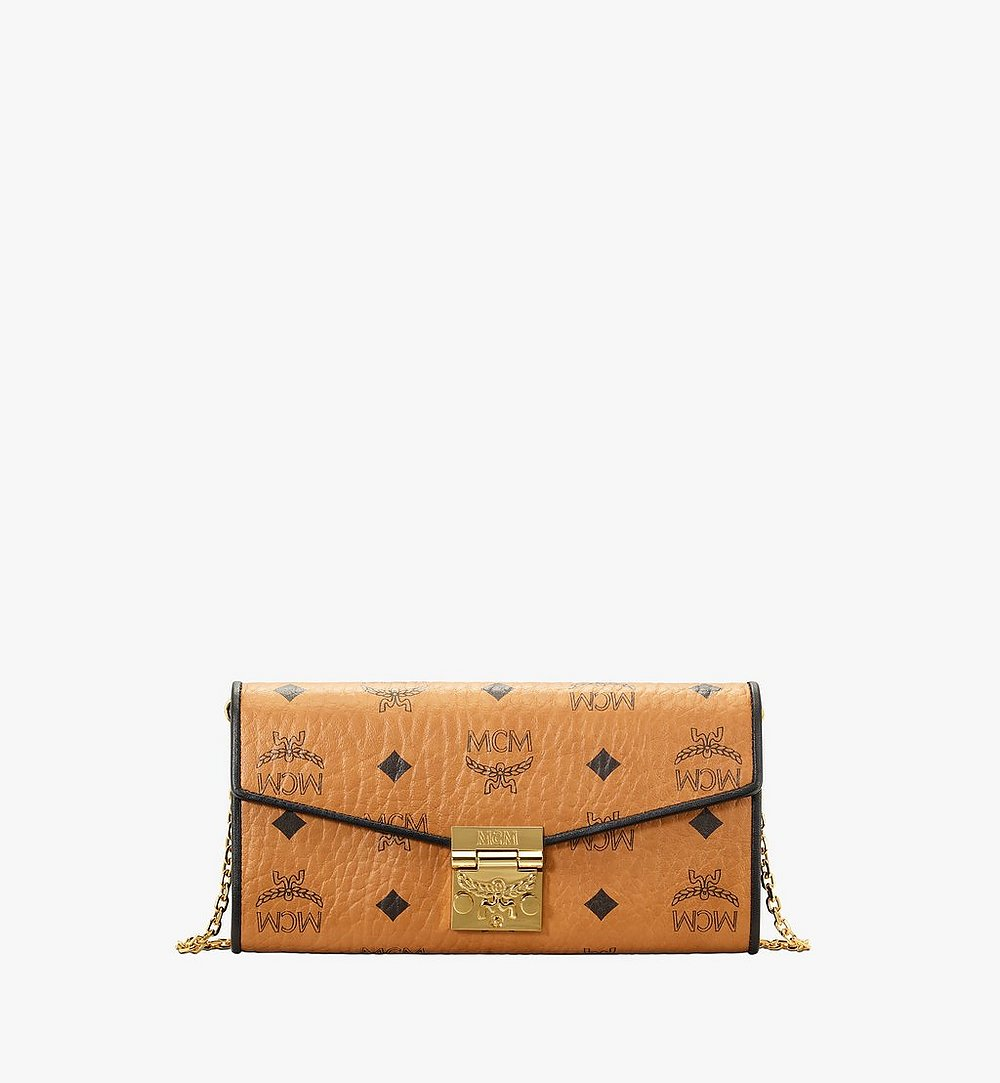 MCM Patricia Crossbody Wallet in Visetos Leather Block Cognac MYLAAPA04CO001 Alternate View 1