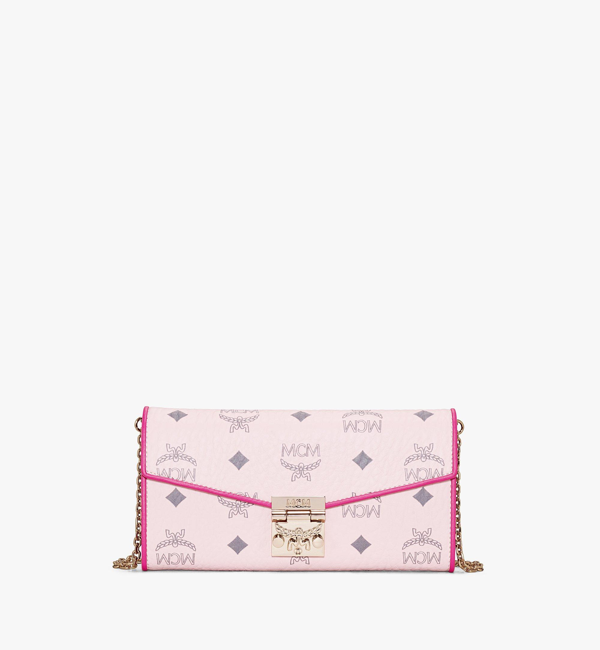 MCM Patricia Crossbody Wallet in Visetos Leather Block Pink MYLAAPA04QH001 Alternate View 1