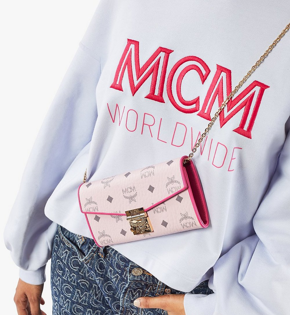 MCM Patricia Crossbody Wallet in Visetos Leather Block Red MYLAAPA04QH001 Alternate View 2