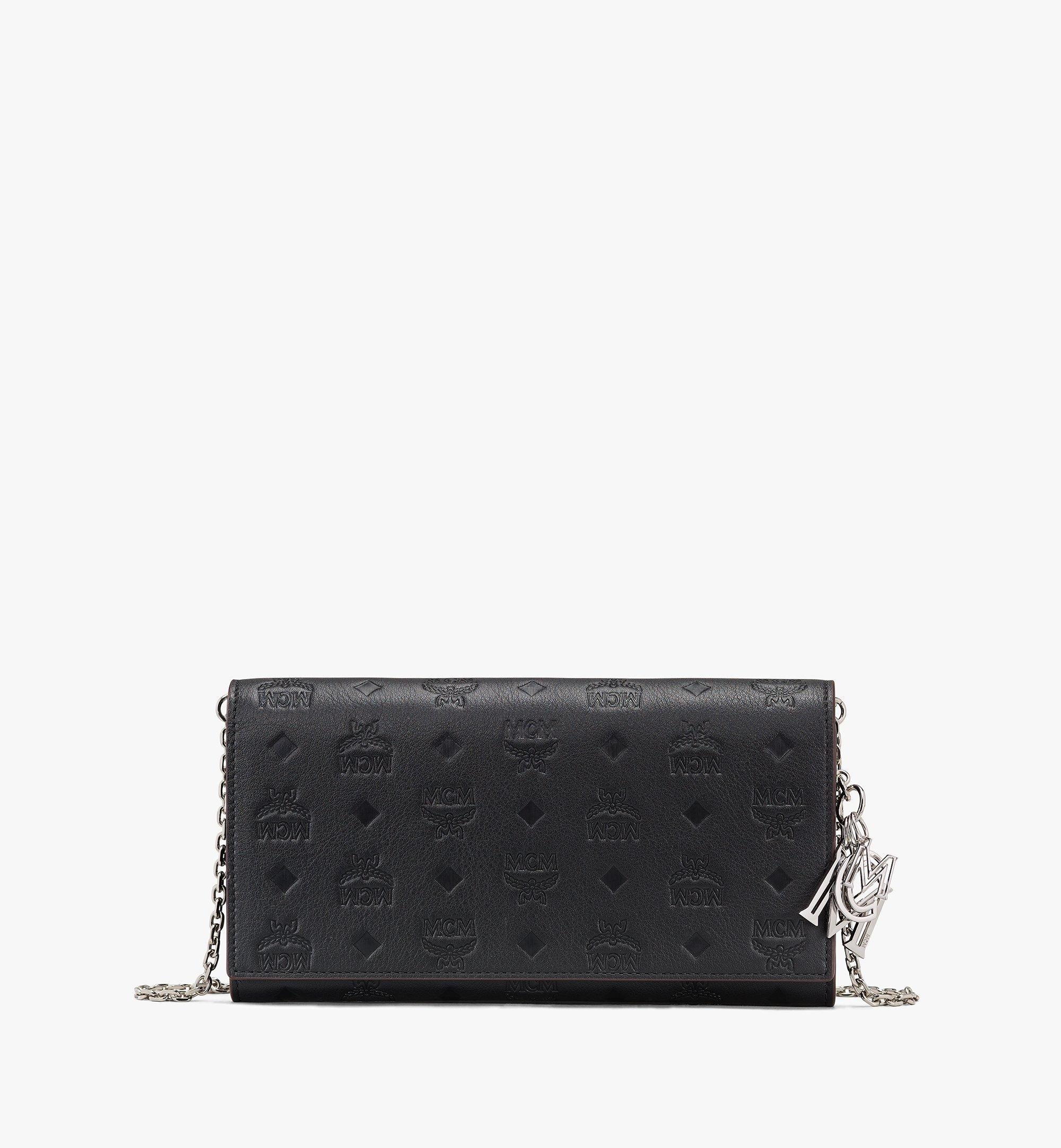 MCM Klara Chain Wallet in Monogram Leather Black MYLASKM01BK001 Alternate View 1