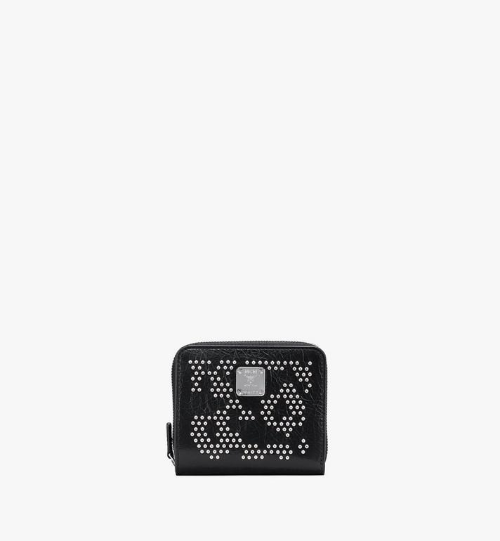 MCM Zip Wallet in Leopard Studded Leather Alternate View