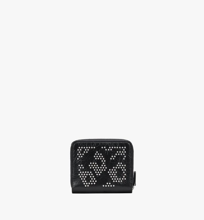 MCM Zip Wallet in Leopard Studded Leather Black MYLASLF01BK001 Alternate View 2