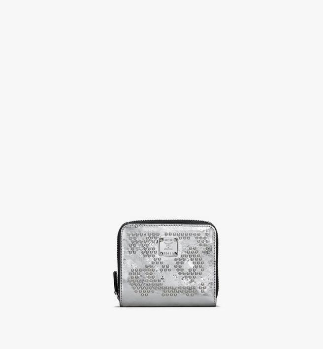MCM Zip Wallet in Metallic Leopard Studded Leather Alternate View