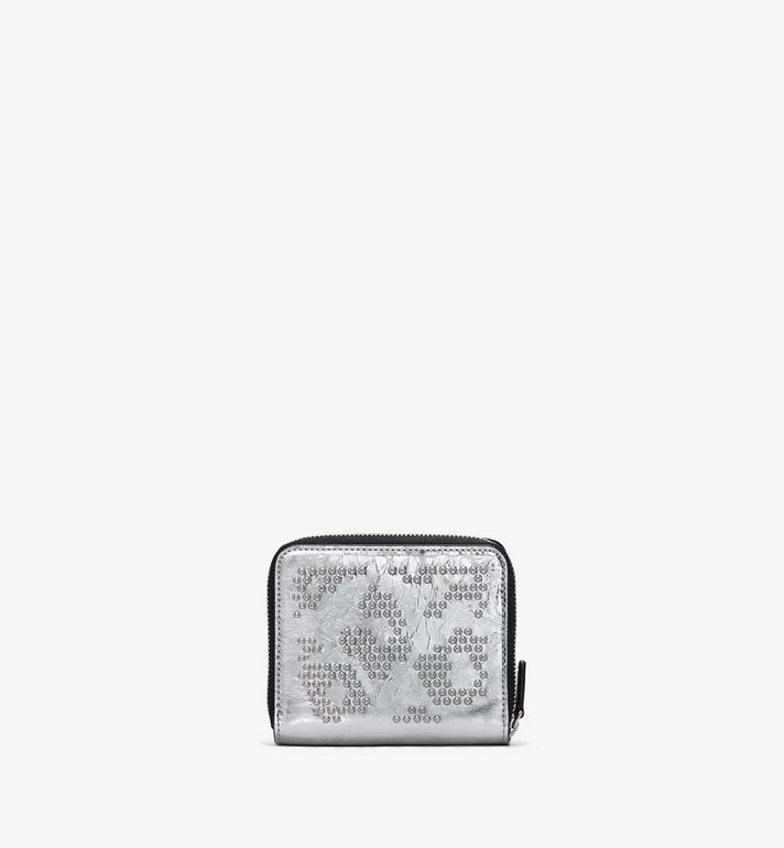 MCM Zip Wallet in Metallic Leopard Studded Leather Silver MYLASLF02SA001 Alternate View 2