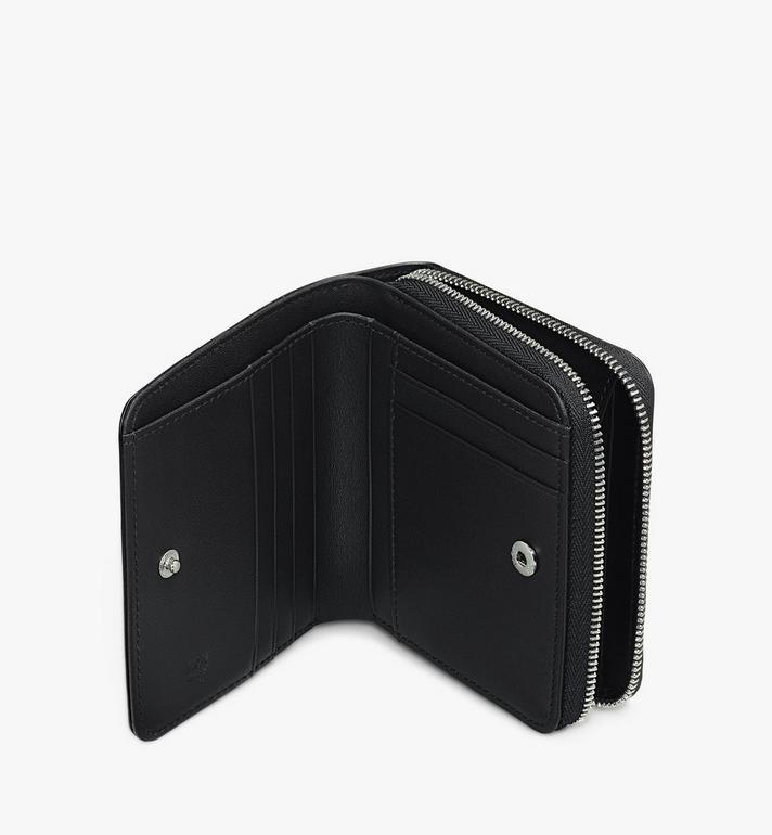 MCM Zip Wallet in Metallic Leopard Studded Leather Silver MYLASLF02SA001 Alternate View 3