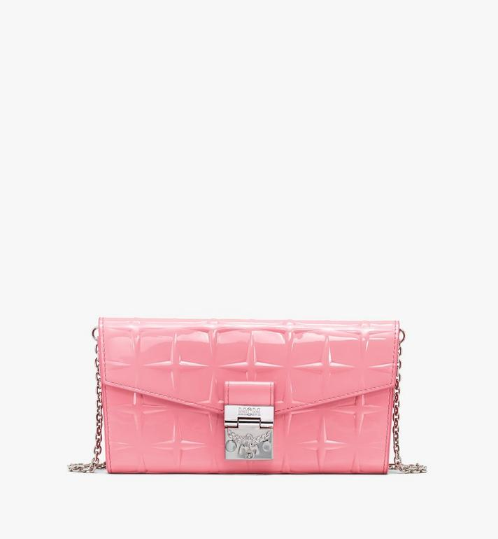 MCM Patricia Crossbody Wallet in Diamond Patent Leather Pink MYLASPA01QG001 Alternate View 1