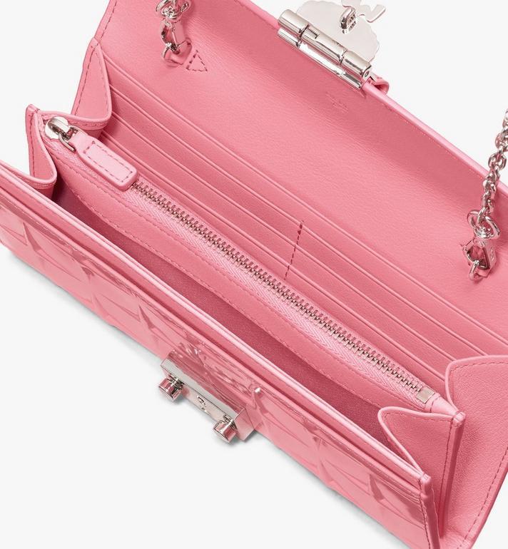 MCM Patricia Crossbody Wallet in Diamond Patent Leather Pink MYLASPA01QG001 Alternate View 3