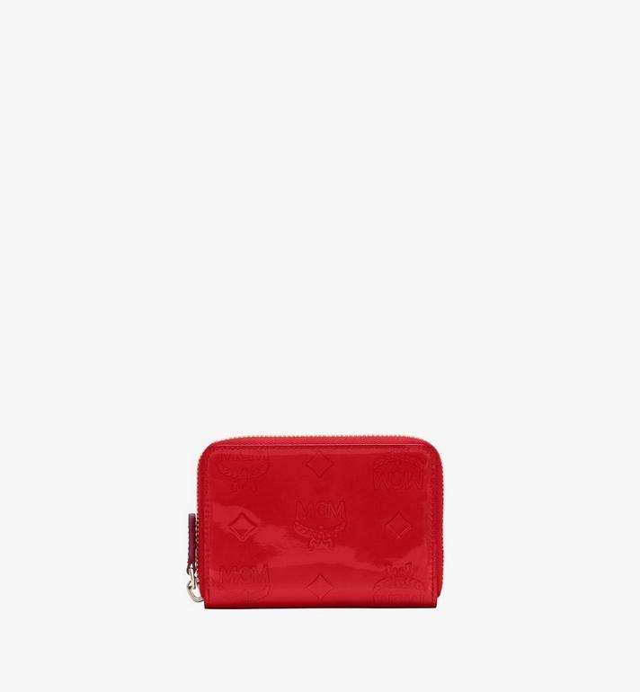 MCM Mini-Brieftasche aus Metallic-Leder mit Monogramm und Reissverschluss Alternate View
