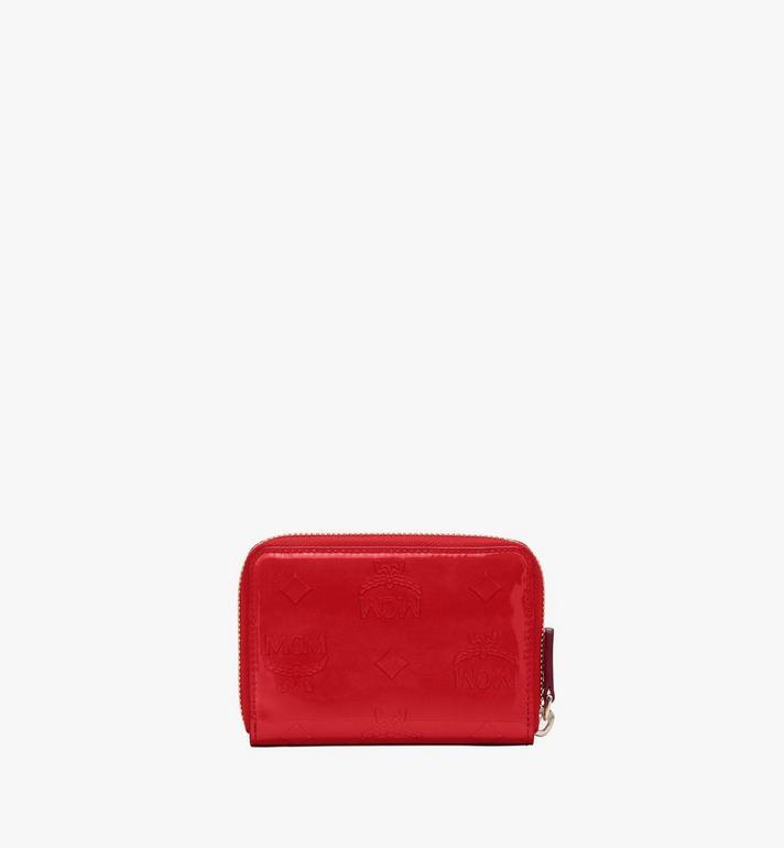 MCM Mini-Brieftasche aus Metallic-Leder mit Monogramm und Reissverschluss Red MYLASPM02R4001 Alternate View 2