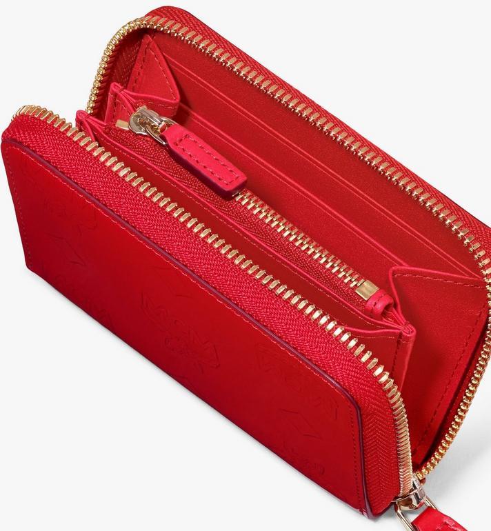 MCM Mini-Brieftasche aus Metallic-Leder mit Monogramm und Reissverschluss Red MYLASPM02R4001 Alternate View 3