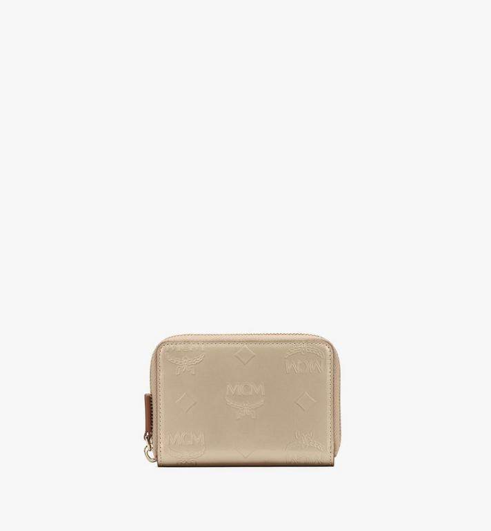 MCM Mini Zip Wallet in Metallic Monogram Leather Alternate View