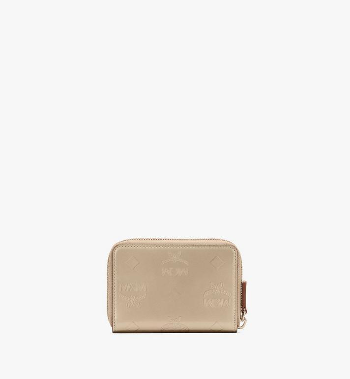 MCM Mini Zip Wallet in Metallic Monogram Leather Gold MYLASPM02T1001 Alternate View 2