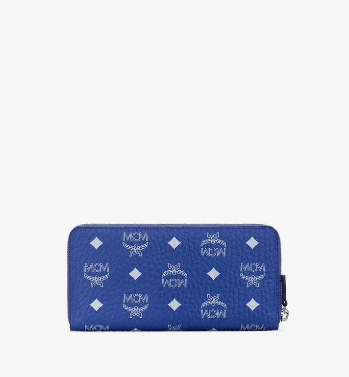 MCM Zip Around Wallet in Visetos Blue MYLASVI01H1001 Alternate View 2