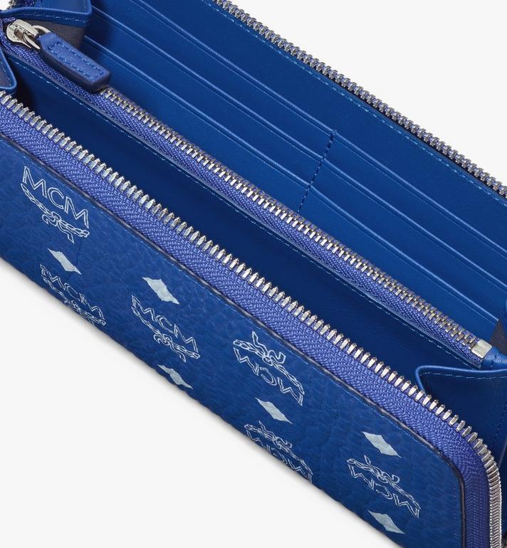 MCM Zip Around Wallet in Visetos Blue MYLASVI01H1001 Alternate View 3