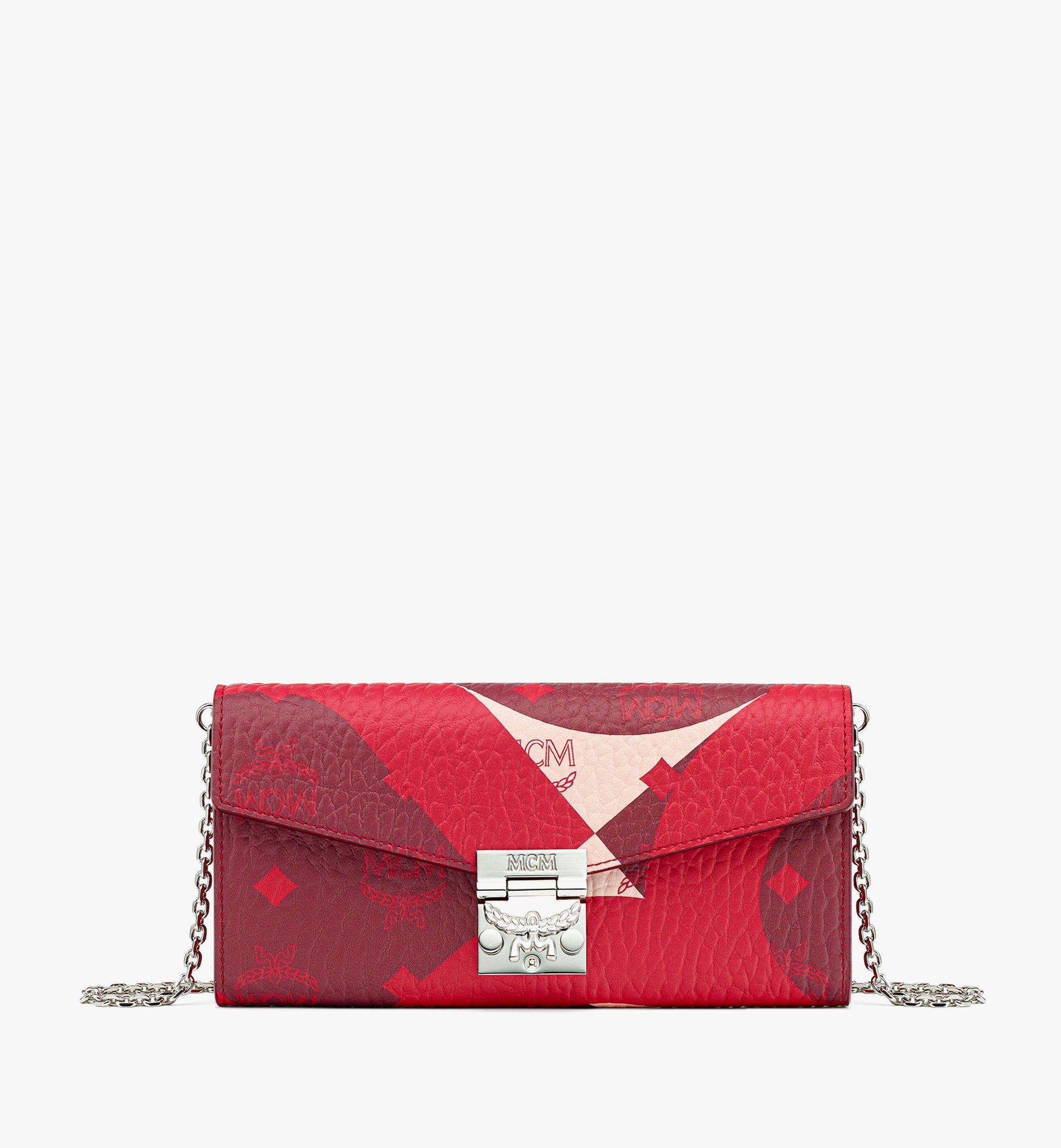 MCM Patricia Crossbody Wallet in Wave Visetos Red MYLBASX02R0001 Alternate View 1