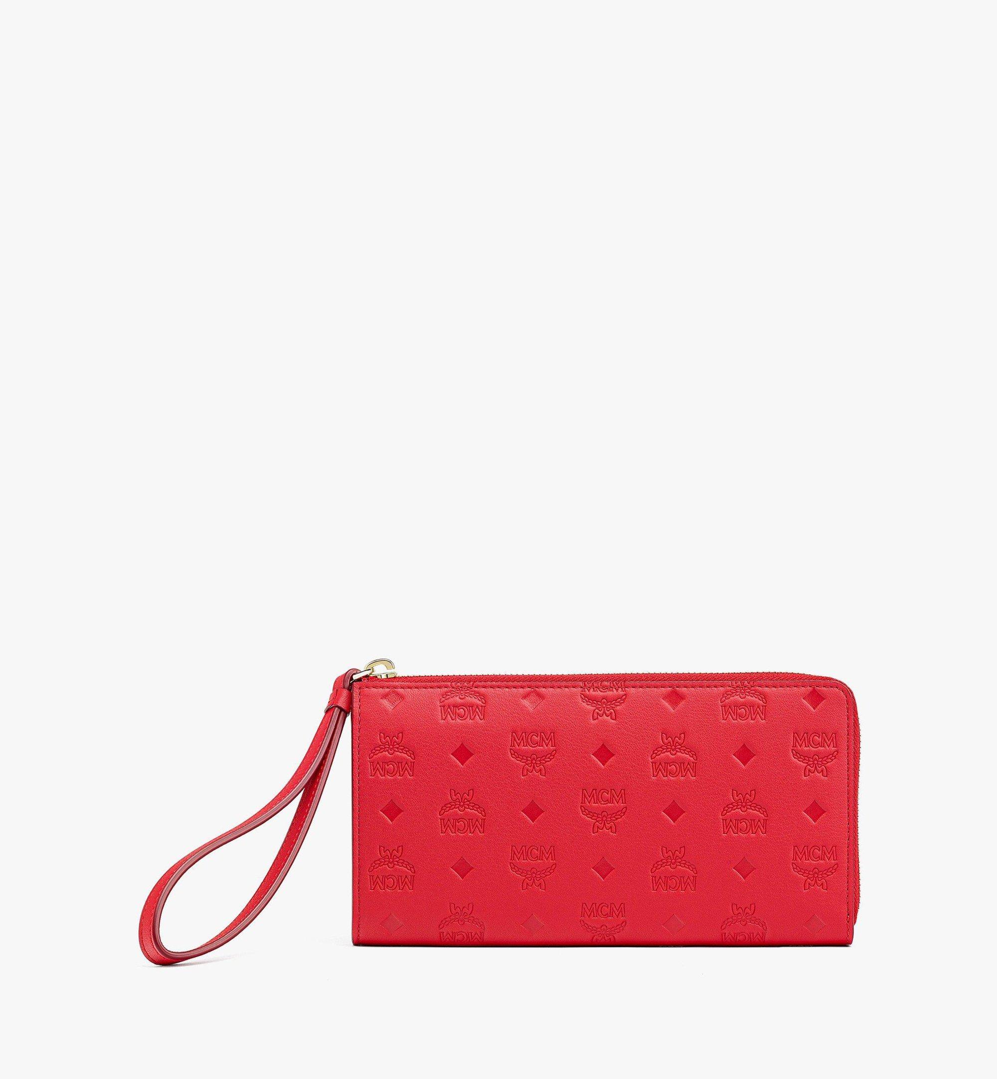 MCM Klara Zip Around Wallet in Monogram Leather Red MYLBSKM02R0001 Alternate View 1