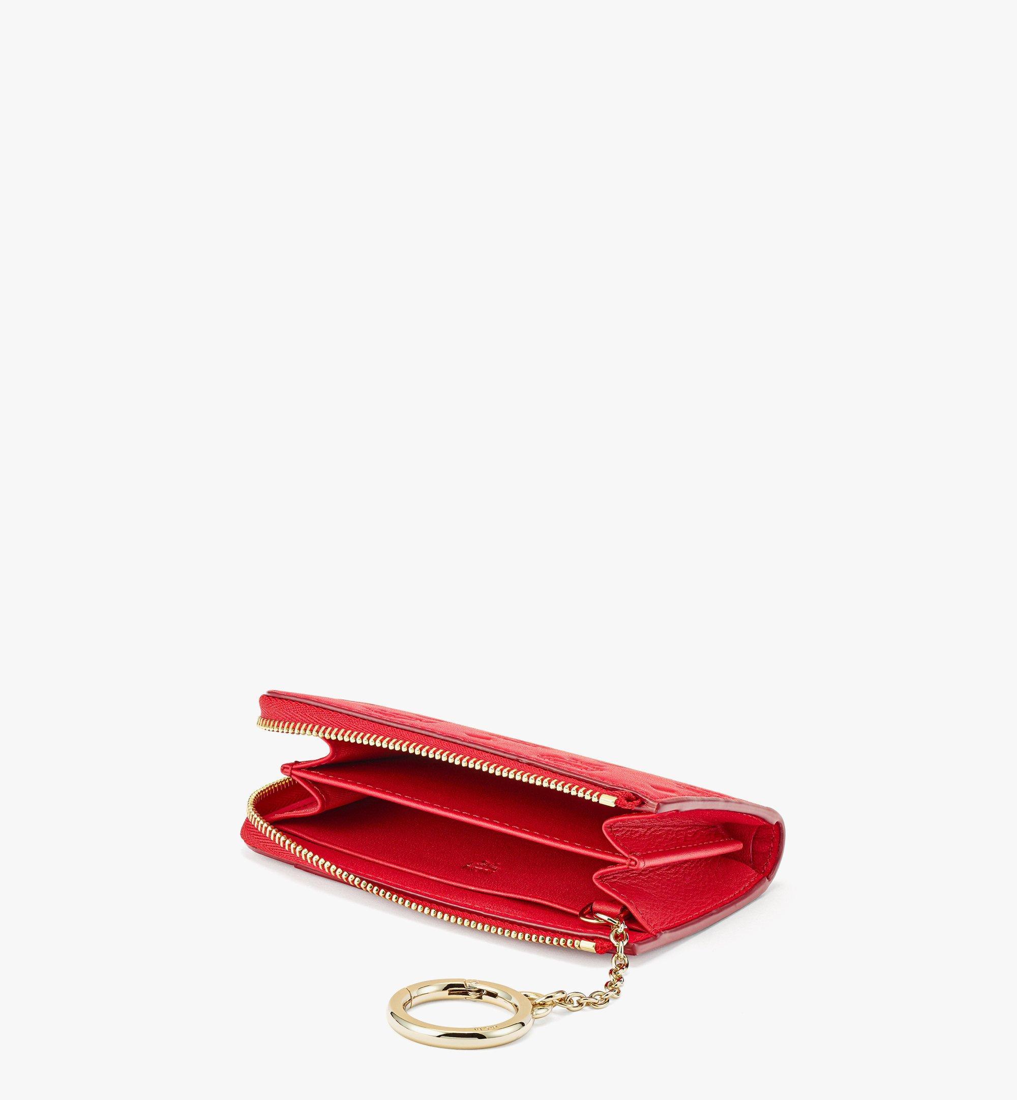 MCM Klara Brieftasche aus Leder mit Monogramm, Reissverschluss und Kartenfächern Red MYLBSKM03R0001 Noch mehr sehen 1