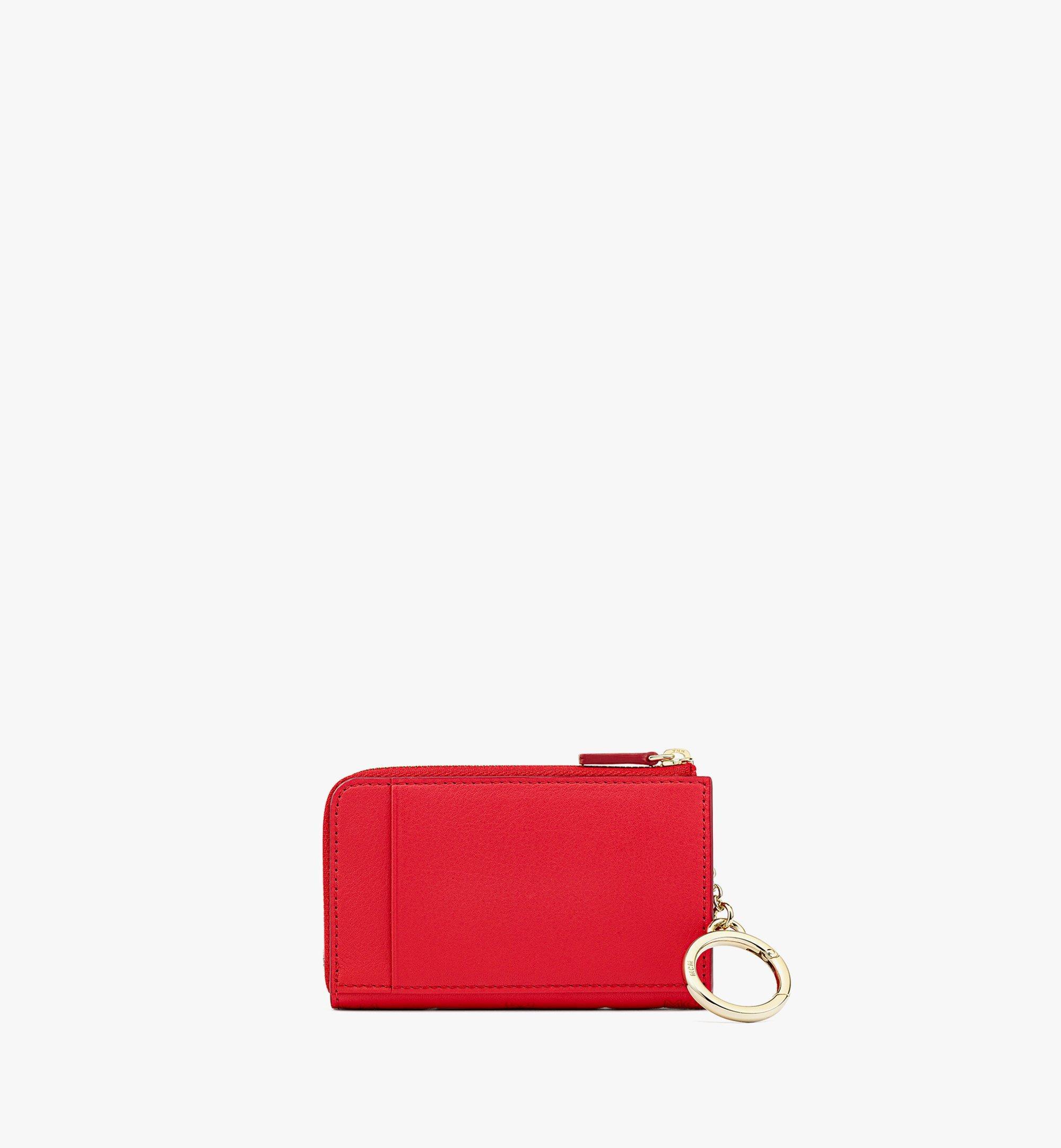 MCM Klara Brieftasche aus Leder mit Monogramm, Reissverschluss und Kartenfächern Red MYLBSKM03R0001 Noch mehr sehen 2