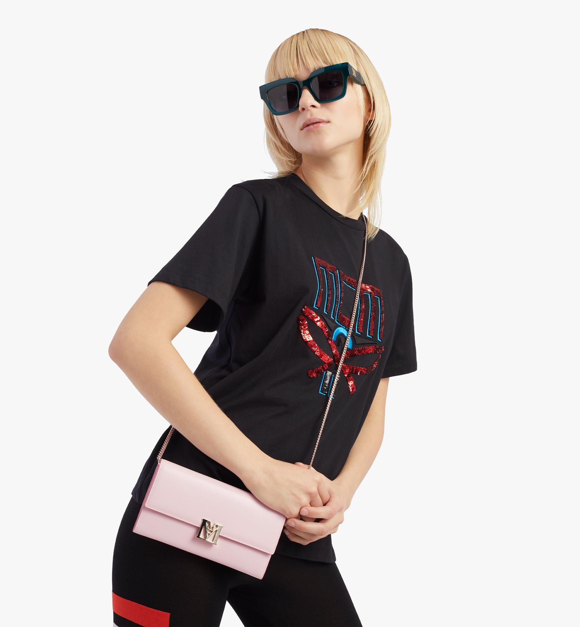 MCM Mena Crossbody Wallet in Embossed Leather Pink MYLBSLM01QH001 Alternate View 2